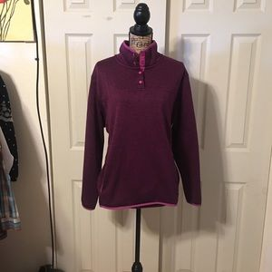 Pullover with half button front